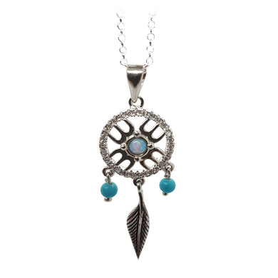 Sterling silver dreamcatcher style necklace with blue opalite - The Alresford Gift Shop
