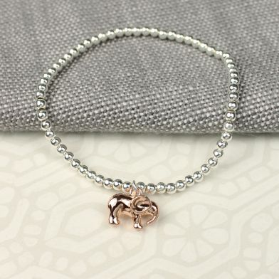 Silver plated stretch bead bracelet with elephant charm with rose gold finish - The Alresford Gift Shop