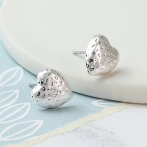 Silver plated hammered heart studs - The Alresford Gift Shop