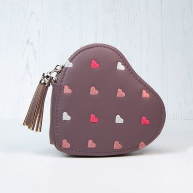 Ladies heart shaped tassell purse - mulberry - The Alresford Gift Shop