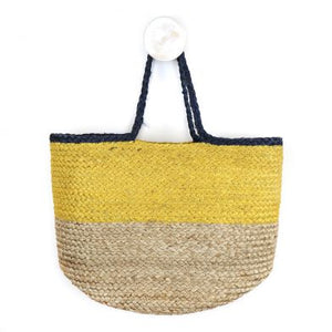 Natural jute bag with navy and yellow - The Alresford Gift Shop