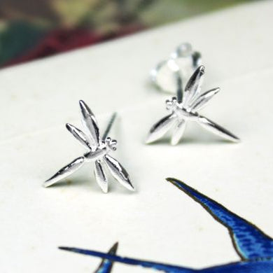 Sterling Silver Dragonfly Stud Earrings - The Alresford Gift Shop