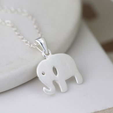 Sterling silver brushed elephant necklace - The Alresford Gift Shop