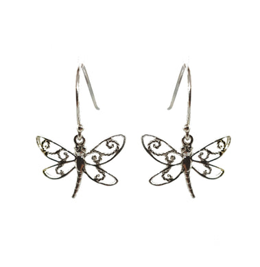 Sterling silver drop dragonfly drop earrings - The Alresford Gift Shop