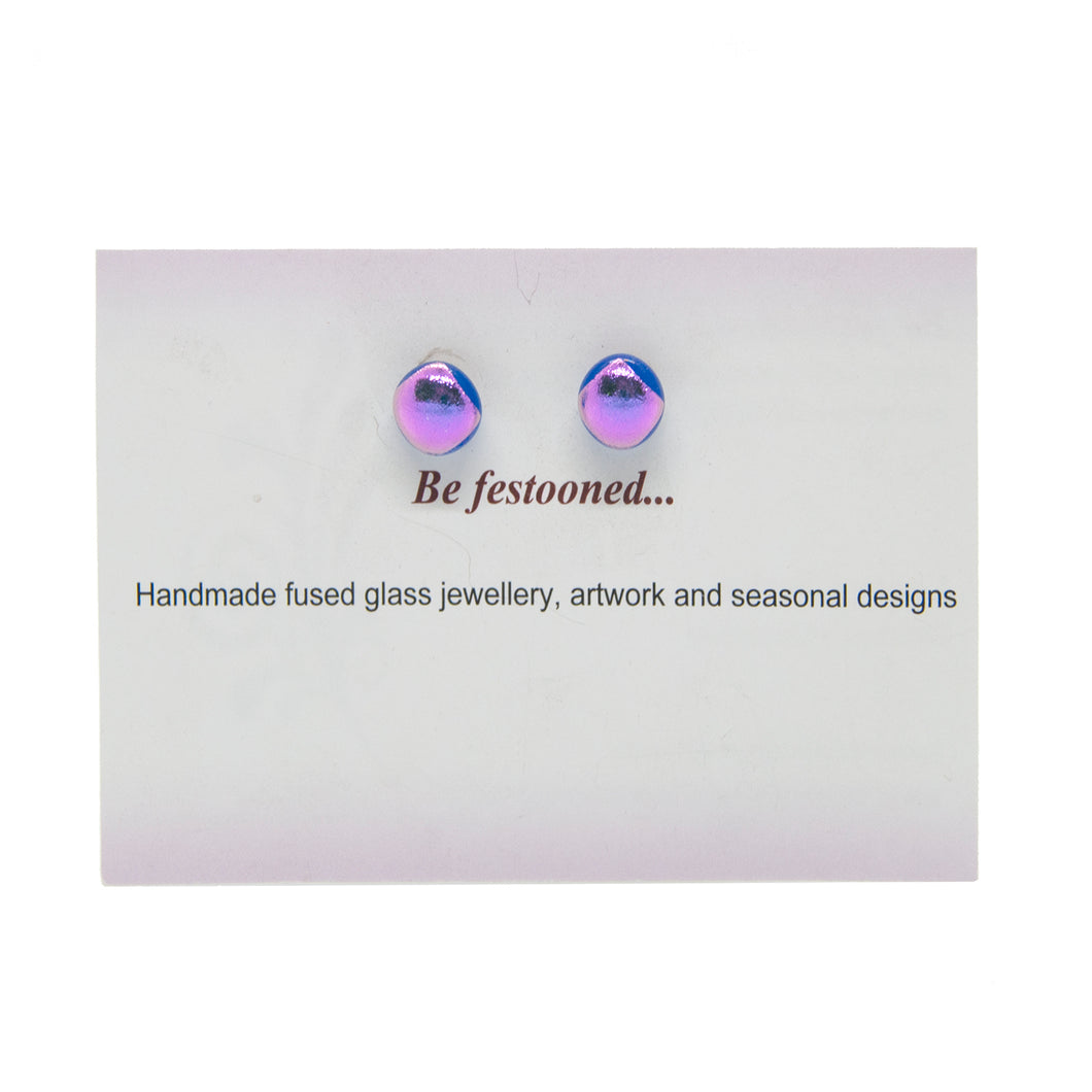 Hand made stud earrings in fused glass - blue shades/mauve - The Alresford Gift Shop