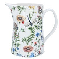 Bone china jug Gisela Graham = large Flora Fauna - The Alresford Gift Shop