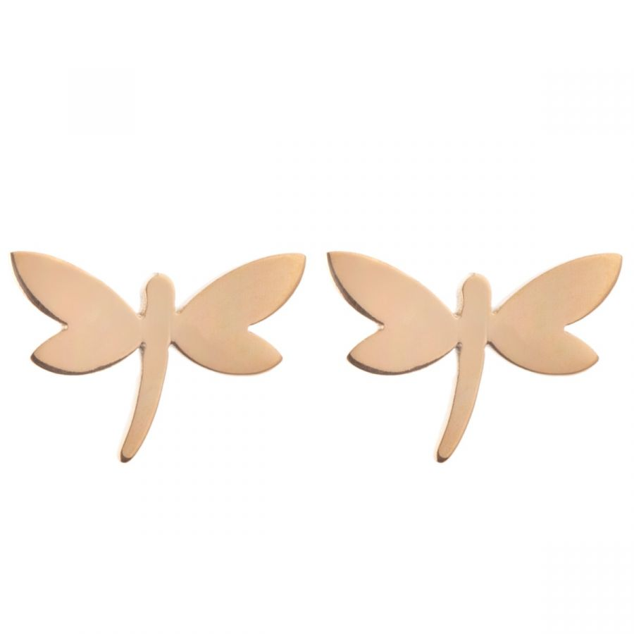 Gold plated dragonfly stud earrings