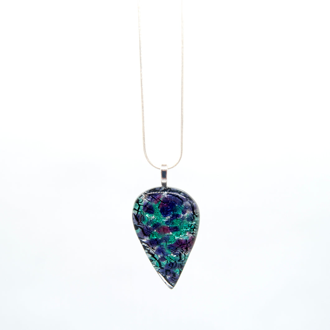 Fused glass locally made teardrop shape pendant ( shades of blue) - The Alresford Gift Shop