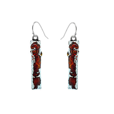 Locally made fused glass drop earrings with a silver edging ( red) - The Alresford Gift Shop