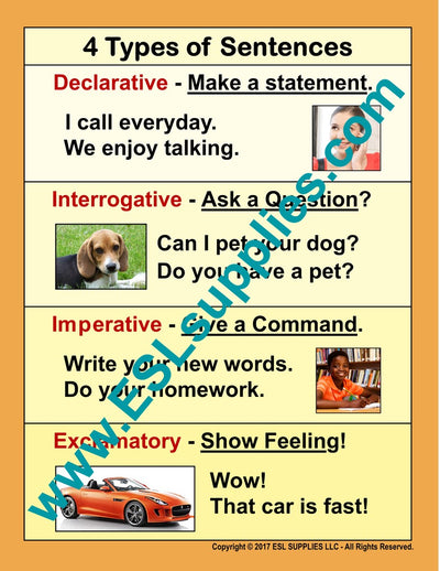 Types of Sentences ESL Poster