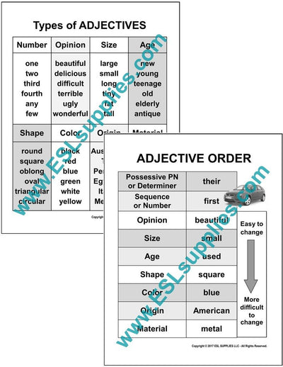 Set of ESL Adjective Poster Downloads