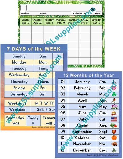 Set of 3 Calendar ESL Posters