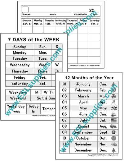 Set of Calendar ESL Poster Downloads
