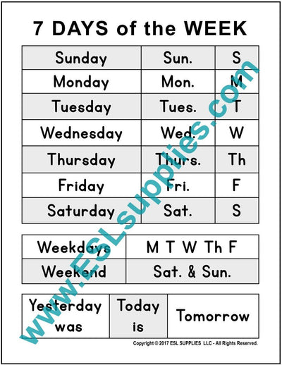 Days of the Week ESL Poster Download