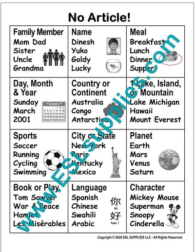 No Article ESL Poster Download