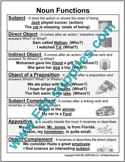 Noun Functions ESL Poster Download