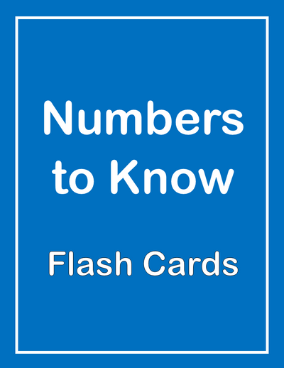 Numbers to Know ESL Flash Cards