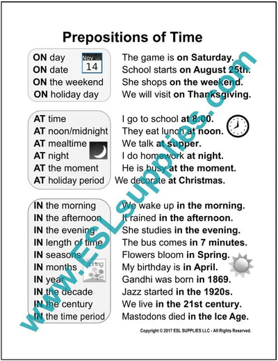 Prepositions of Time ESL Poster Download