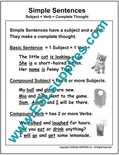 Simple Sentences ESL Posters