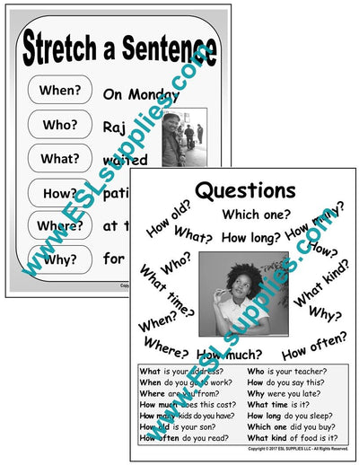 Set of 2 Writing ESL Poster Downloads