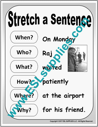Stretch a Sentence ESL Poster Download
