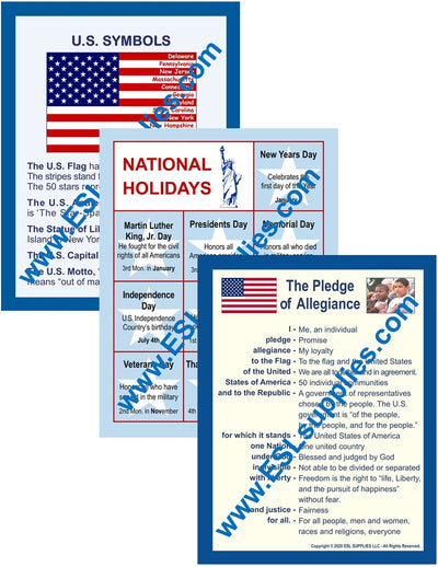 U.S. Symbols, Pledge & Holidays Citizenship Posters
