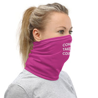 Compassion Takes Courage | Neck Gaiter | White on Pink