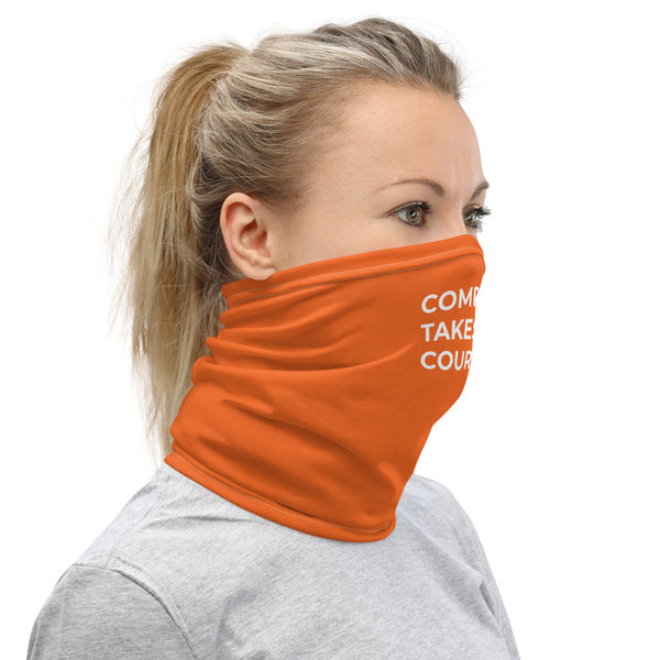 Compassion Takes Courage | Neck Gaiter | White on Orange