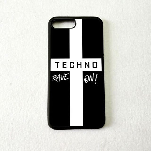 Coque Apple iPhone Fond Noir - Croix Religieuse Techno