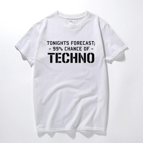 T-Shirt Homme TECHNO 99 Chances of Techno T-shirt Homme Techno Party OutFit Blanc XS
