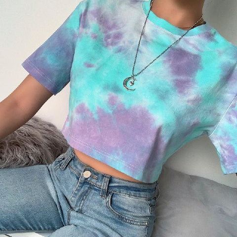T-Shirt Crop Top Tie Dye Cotton