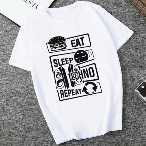 T-Shirt Femme EAT SLEEP TECHNO REPEAT