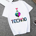 T-Shirt Femme I Love Techno colore