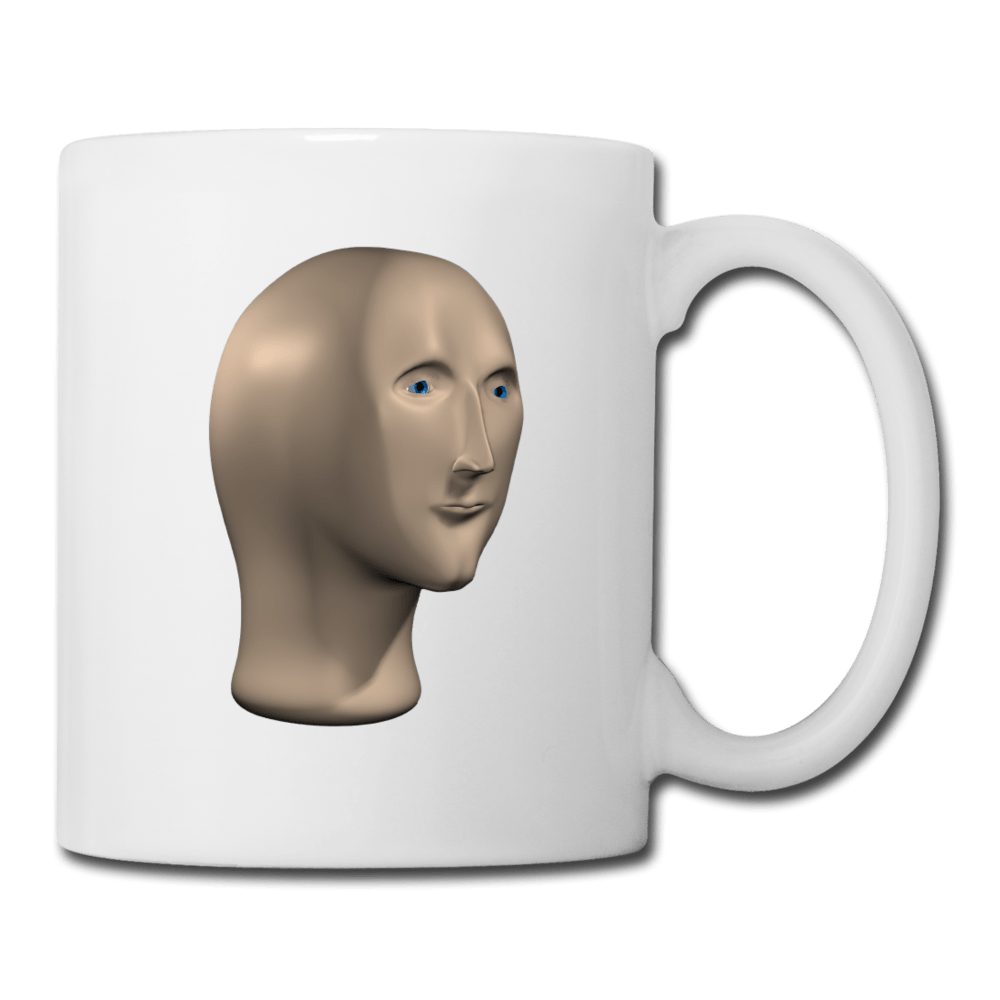 Stonks Man Coffee Mug - white