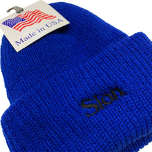"Load image into Gallery viewer, SLON Logo Embroidered Beanie ""Royal"""