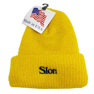 "【50%OFF】SLON Logo Embroidered Beanie ""Gold"""