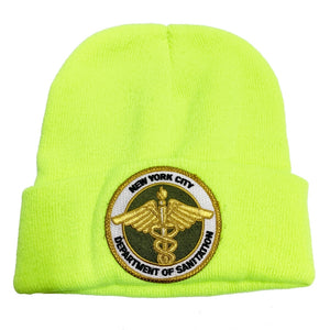 "【50%OFF】DSNY New York City Department of Sanitation Official Employee Knit Beanie ""Neon Yellow"""