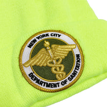 "Load image into Gallery viewer, DSNY New York City Department of Sanitation Official Employee Knit Beanie ""Neon Yellow"""