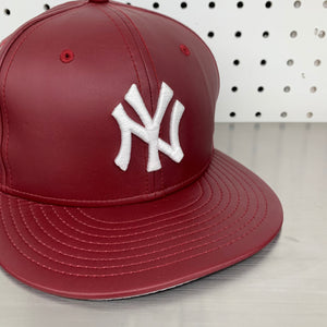 "New York Yankees New Era 59FIFTY Fitted Cap ""Burgundy Leather"""
