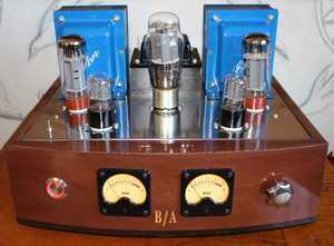 Juno 30, Class A, Point to Point Amplifier with Edcor 8 ohm Output Transformers, Auricap / Nichicon Caps, Walnut / Wenge Wood Chassis