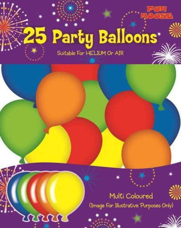 25 Party Balloons Multi-Coloured