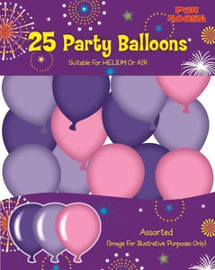 25 Party Balloons - Pink Assorted