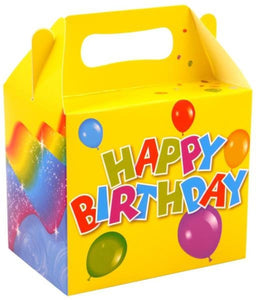 Happy Birthday Lunch Box (Pack 6) 14cm x 9.5cm x 12cm