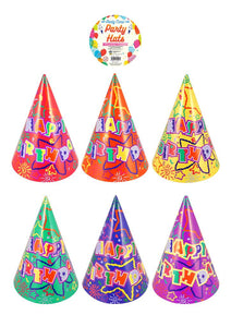Party Hats (Pack of 6) Assorted Colours