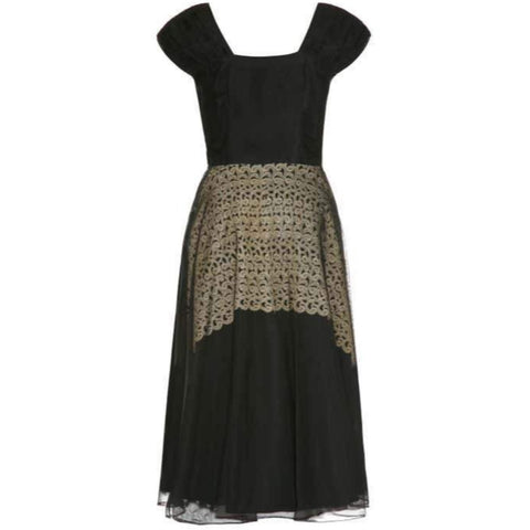 1940's Monica Black Dress With Cream Guipure Lace Underlay