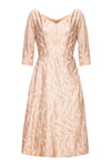 1950s Rose Gold Embroidered Silk Dress