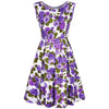 1960s Waffle Cotton Purple Floral Print Dress