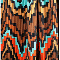 1970s Frank Usher Ribbed Jersey Maxi Dress With Aztec Print Skirt and Belt Tie