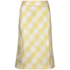 1970s Karl Lagerfeld for Chloe Yellow and White Gingham Check Silk Skirt