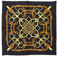 ARCHIVE - 1970s Black and Gold Eperon d'Or Hermès Scarf